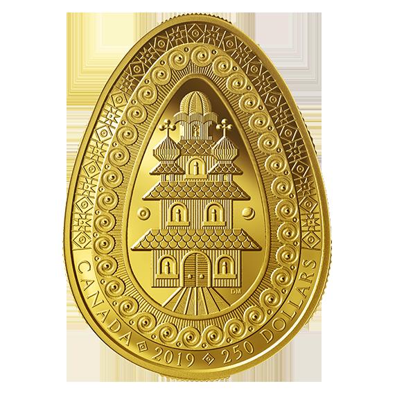 Канада выпустила золотую монету в форме украинского пасхального яйца
