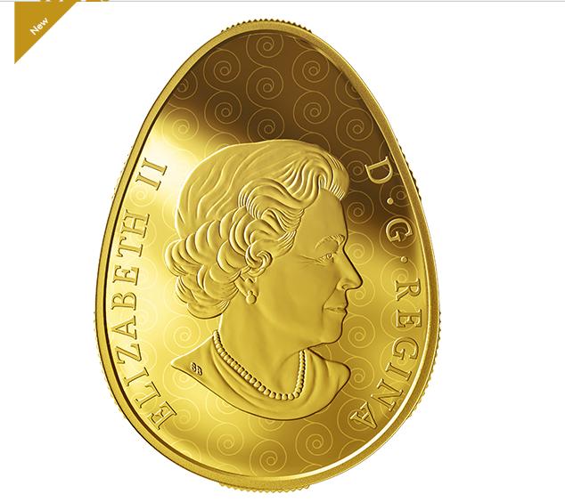 канадская монета в форме писанки