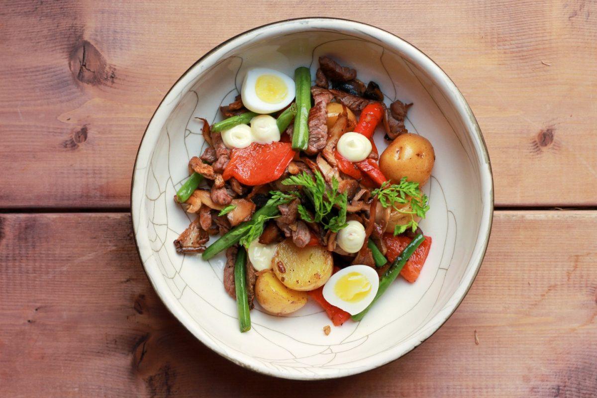 теплый салат с говядиной рецепт